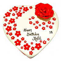 White Heart &  Red Roses cake